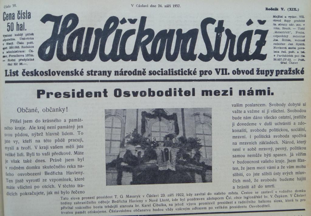 4 Noviny referují o návštěvě TGM v Čáslavi.