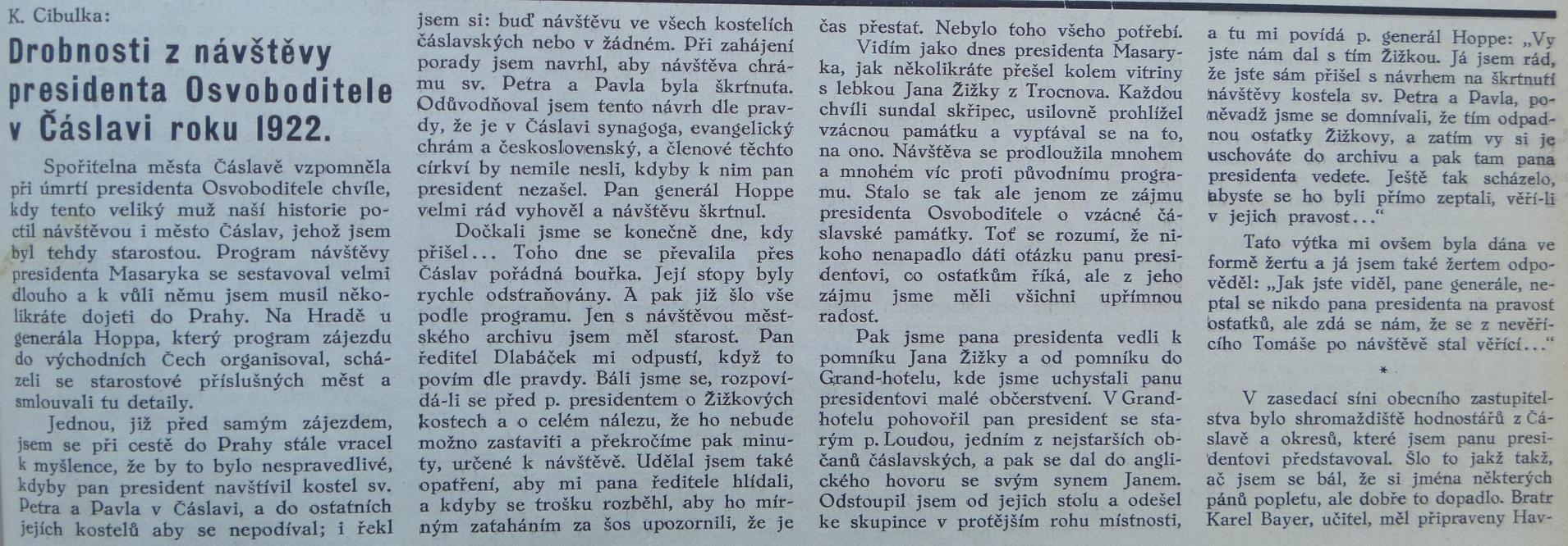8 Noviny referují o návštěvě TGMv Čáslavi